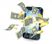 picture of mobile-phone  - Money flying out of new style smart mobile phone - JPG