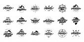 Big Black And White Adventure Lettering Set Logos. Vintage Logo With Mountains, Bonfires And Arrows. poster