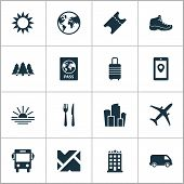 Journey Icons Set With Ticket, Hiking Boot, Baggage And Other Cafe Elements. Isolated Vector Illustr poster