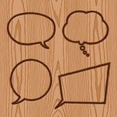 speech bubbles brand collection on wood pattern background poster