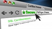 High Resolution 3d Illustration Of Ssl Secure Browser With Text Certified Website Secure. Great Conc poster