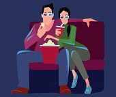 Couple Watching A Movie In The Cinema In 3d Glasses And Eating Popcorn. Watching A Movie At The Cine poster