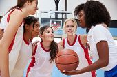 Female High School Basketball Players In Huddle Having Team Talk With Coach poster