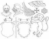 Постер, плакат: Набор рыцарь геральдических элементов
