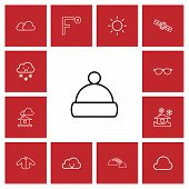 Set Of 13 Editable Weather Icons Line Style. Includes Symbols Such As Overcast, Rainbow, Temperature poster