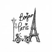 Bonjour Paris Text With Tower Eiffel And Bicycle. poster