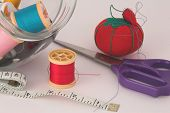 Sewing Thread, Tape, Scissors And Pin Cushion poster