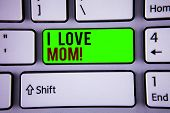 Words Writing Texts I Love Mom Motivational Call. Business Concept For Good Feelings For Their Own M poster