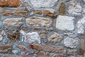 Stone Background Blocks Brown White Limestone Cemented With Gray Cement Old Uneven Pattern Urban Des poster