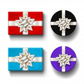 Gift Boxes 3d Top View Set, Isolated White Background. Silver Ribbons Bow On Color Giftbox. Present  poster