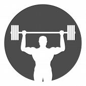 Silhouette Of Bodybuilder With Barbell In His Hands. Weightlifting Symbol. Vector Icon. poster