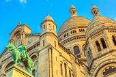 Bottom View Of Sacred Heart Of Paris Church In France. Basilique Du Sacre-coeur De Montmartre. Histo poster
