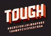 The Tough Bold Display Font Design, Alphabet, Typeface, Letters And Numbers, Typography. Swatch Colo poster