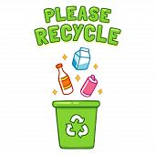 Cute Cartoon Please Recycle Poster. Throwing Different Type Of Trash, Bottles And Cans, In Recycle B poster