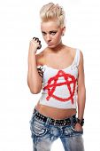 image of brass knuckles  - Punk girl with a brass knuckles - JPG