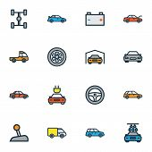 Automobile Icons Colored Line Set With Sport, Gear, Tesla And Other Electric  Elements. Isolated  Il poster