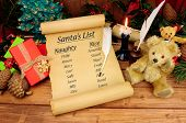 Christmas Naughty And Nice List On An Old Paper Scroll With A Festive Background poster
