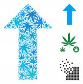 Arrow Composition Of Cannabis Leaves In Variable Sizes And Color Shades. Vector Flat Weed Leaves Are poster