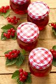 Currant Jam.red Currant Jam And Red Currant With Leaves On A Wooden Background. Berry Season. Curran poster