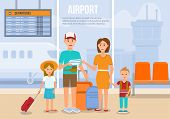 Traveling Family On Vacation. Family Travel. Father, Mother, Son And Daughter At Airport. Happy Fami poster
