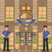 Work Of Security Agency. Protection Of Buildings And Public Institutions. Strong Men Guarding Securi poster