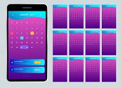 Calendar 2019 For Phone. Vector Calendar For 2019 Year. Set Of 12 Calendar Pages. Colorful Set. Week poster