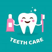 Постер, плакат: Smiling Tooth With Toothbrush And Toothpaste Teeth Care Concept Cute Tooth With Happy Emoji Teeth
