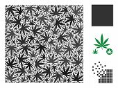 Filled Square Composition Of Hemp Leaves In Variable Sizes And Color Tinges. Vector Flat Ganja Leave poster