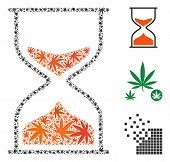 Hourglass Collage Of Hemp Leaves In Different Sizes And Color Tinges. Vector Flat Hemp Items Are Org poster