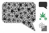 Message Cloud Collage Of Hemp Leaves In Different Sizes And Color Variations. Vector Flat Hemp Items poster