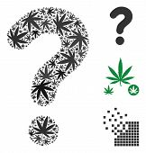 Question Composition Of Weed Leaves In Variable Sizes And Color Variations. Vector Flat Weed Items A poster