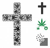 Religious Cross Composition Of Cannabis Leaves In Various Sizes And Color Tinges. Vector Flat Grass  poster