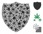 Shield Composition Of Weed Leaves In Variable Sizes And Color Variations. Vector Flat Weed Elements  poster