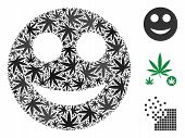 Smile Composition Of Cannabis Leaves In Variable Sizes And Color Tints. Vector Flat Marijuana Icons  poster