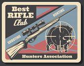 Hunter Association Or Hunting Club Retro Poster. Vector Vintage Grunge Design Of Aper Hog Or Boar Pr poster