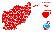 Постер, плакат: Love Afghanistan Map Composition Of Red Hearts We Like Afghanistan Map Concept Abstract Vector Are