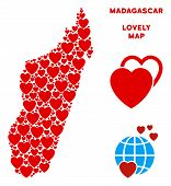 Постер, плакат: Valentine Madagascar Island Map Collage Of Red Hearts We Like Madagascar Island Map Template Abstr