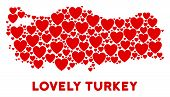 Love Turkey Map Mosaic Of Red Hearts. We Like Turkey Map Concept. Abstract Vector Territory Scheme I poster