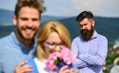 Lovers Hugs Outdoor Flirt Romance Relations. Couple In Love Dating While Jealous Bearded Man Watchin poster