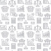 Financial Accounting Seamless Pattern With Flat Line Icons. Bookkeeping Background, Tax Optimization poster