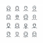 Woman And Man Face Line Icons. Female Male Profile Outline Symbols With Different Hairstyles. Vector poster