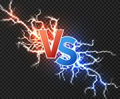 Versus Concept With Collision Of Two Electric Discharge. Vs Vector Background With Power Explosion O poster