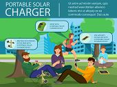 Portable Solar Charger. Solar Panel And Power Generation System. People Charges Smartphone From Sola poster