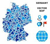 Germany Map Collage Of Blue Triangle Items In Various Sizes And Shapes. Vector Triangles Are Compose poster