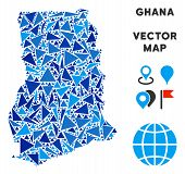 Ghana Map Collage Of Blue Triangle Elements In Different Sizes And Shapes. Vector Triangles Are Grou poster