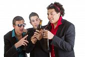 picture of underage  - Three young men with business outfit with beer isolated over white - JPG
