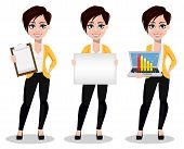 Business Woman, Freelancer, Banker, Set Of Three Poses. Beautiful Lady In Casual Clothes Holding Cli poster
