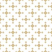 Vector Golden Abstract Geometric Seamless Pattern With Small Stars, Diamond Shapes, Rhombuses. Luxur poster