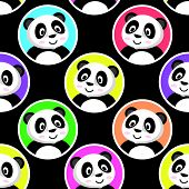 Cute Little Panda Seamless Pattern. Color Circles On A Green Black Background. Flat Slyle poster