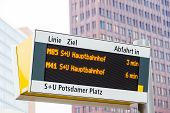 Bus Stop Electronic Indicator In Berlin. Writings Read: Line, Destination, Start In, Central Station poster